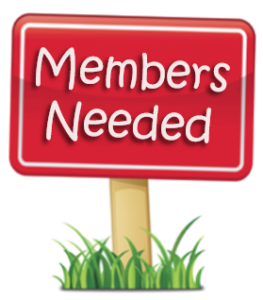 """Sign displaying text """"Members Needed"""""""